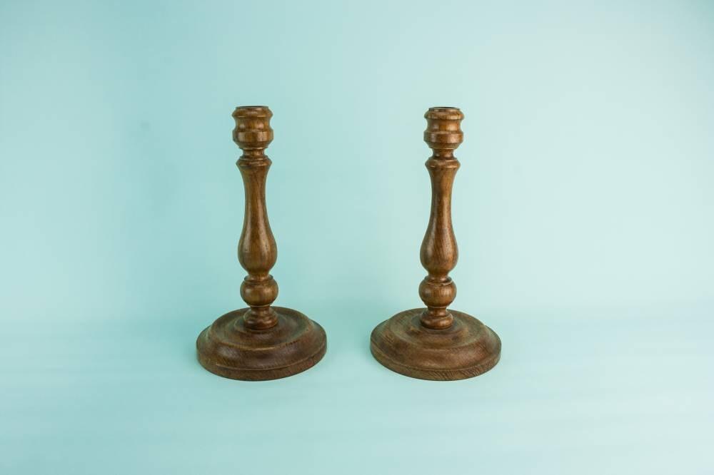 2 Beautiful Antique CANDLESTICKS Bobbin Tall Unique Arts Crafts Wooden Decor Table Circa 1900 English LS