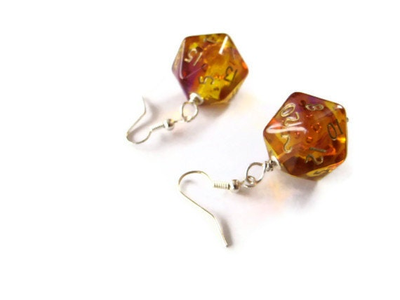 D20 dice earrings ombre purple orange yellow transparent geek gamer DnD role playing RPG dice jewelry dice - MageStudio