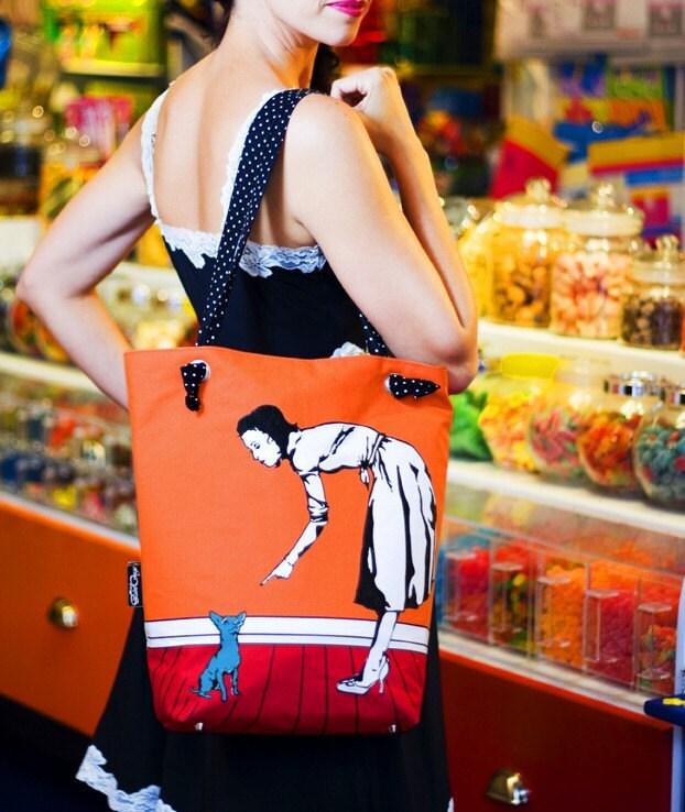 Silkscreened REVERSIBLE Canvas Handbag THE PAM BAG