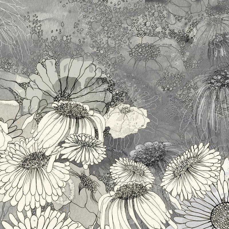 At Night in Iza's Garden III - floral illustration - ingridArtStudio