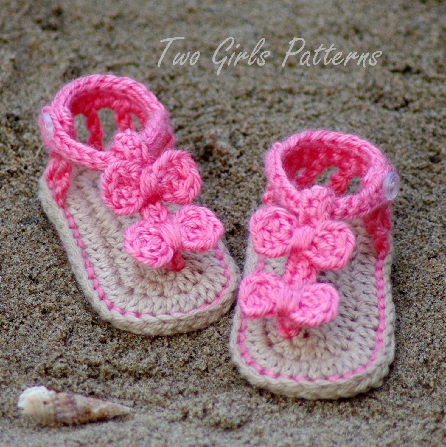 Crochet Pattern For Baby Barefoot Sandals : CROCHET PATTERN 211 Baby Sandal 2 Versions by TwoGirlsPatterns