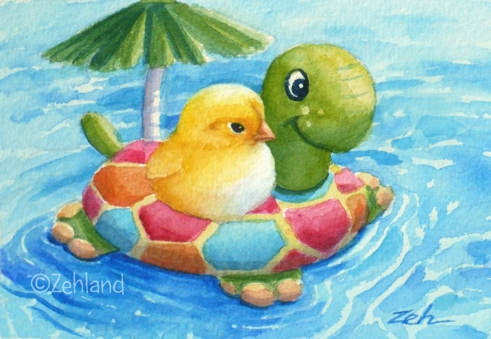 Fine Art Print for Children Baby Chick in Pool Janet Zeh