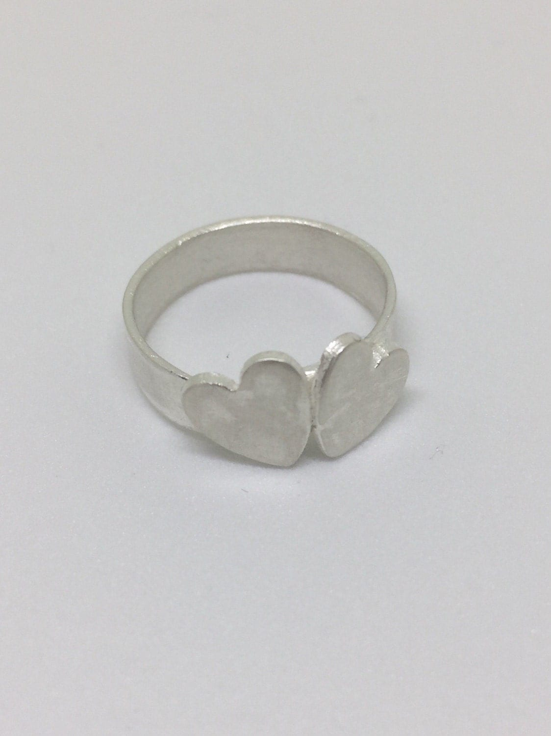 Silver double heart ring chunky ring stacking ring statement ring gift for girlfriend love hearts anniversary present boho chic