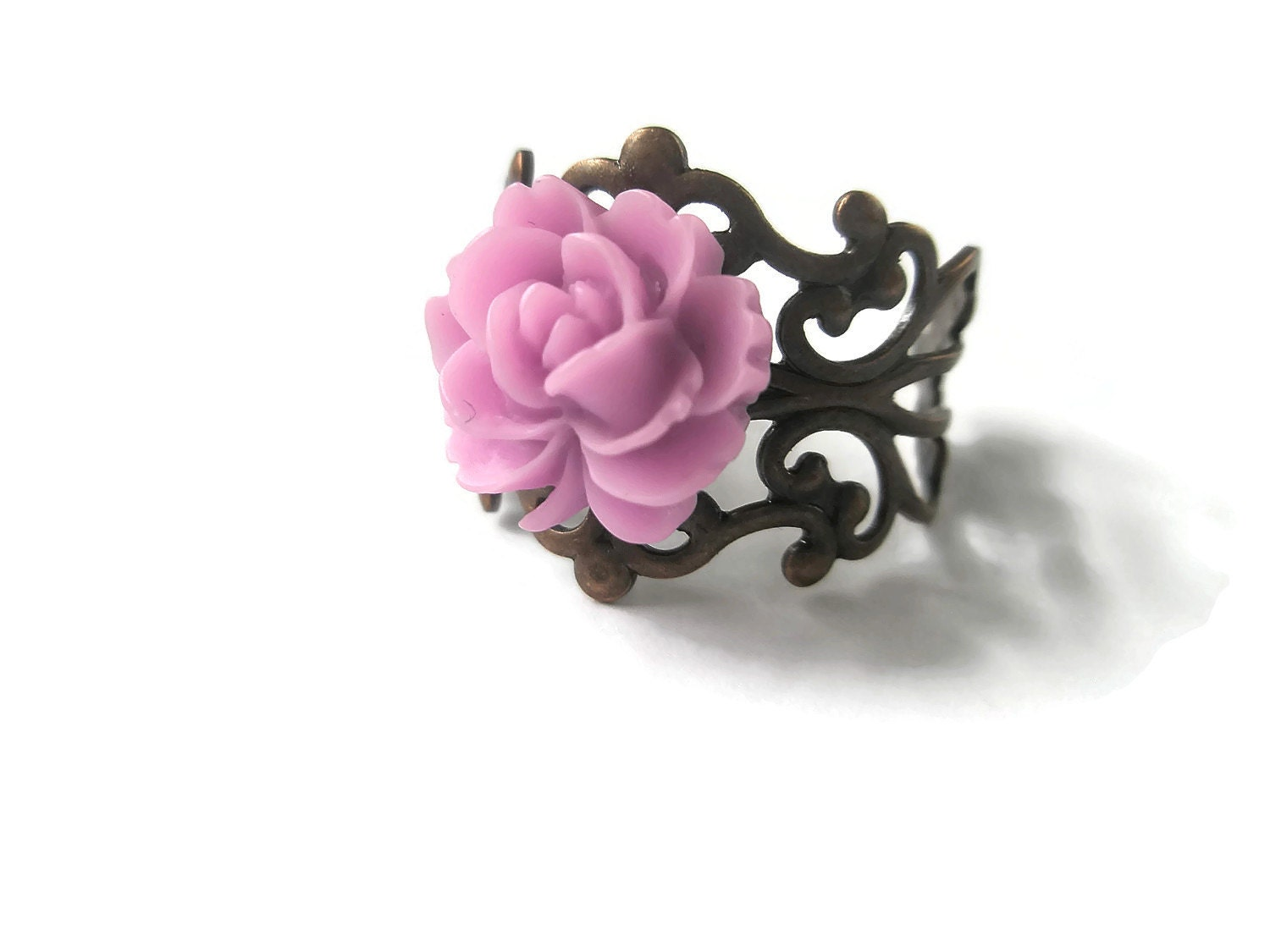 Ring Lilac Rose filigree Antique Copper  Flower adjustable Jewellery Hand Made by Futti Tutti Bead candy