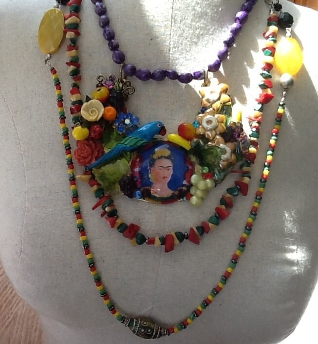 Frieda Kahlo, Cinco de Mayo Collage Necklace