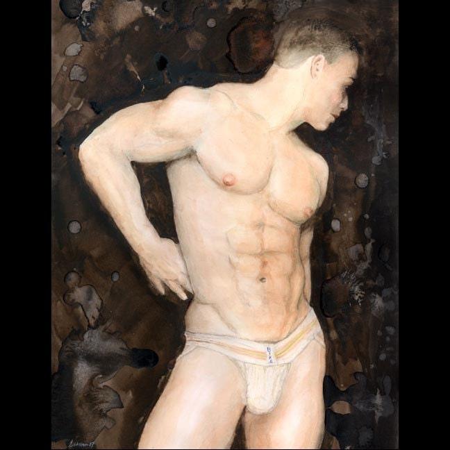 nude man in front of women