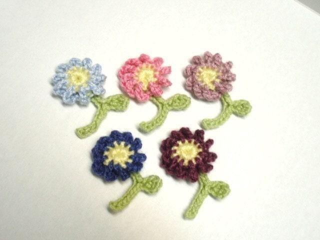 little garden of crochet flowers - set of 5
