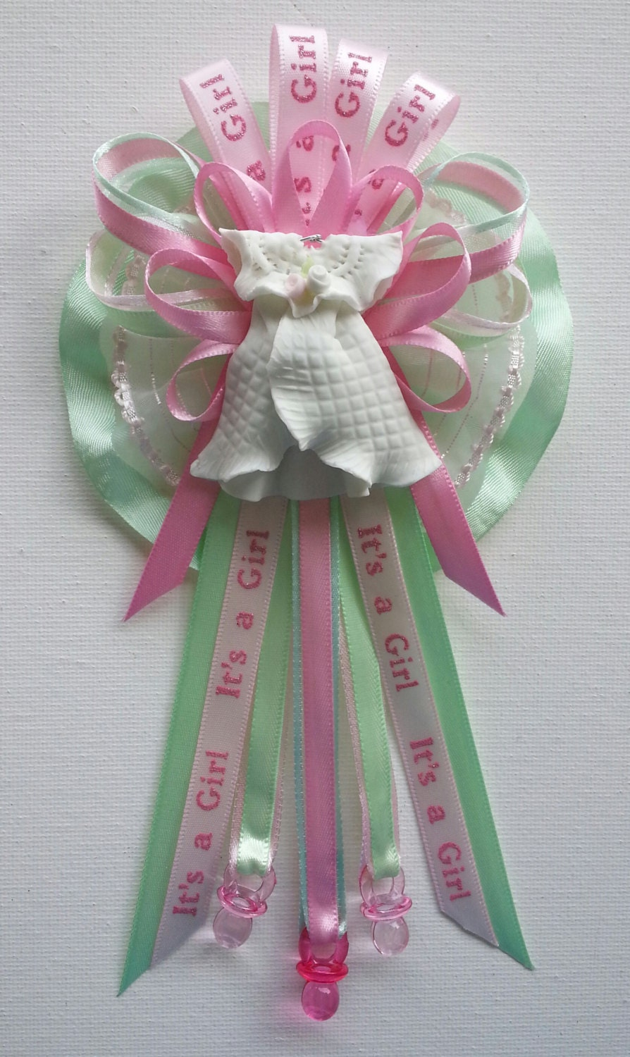 baby shower mommy corsage in pink and green by fancylittlefavors