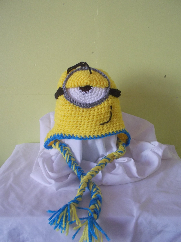 Amigurumi Earflap Hat : Items similar to Minion inspired Hat crochet, Amigurumi ...