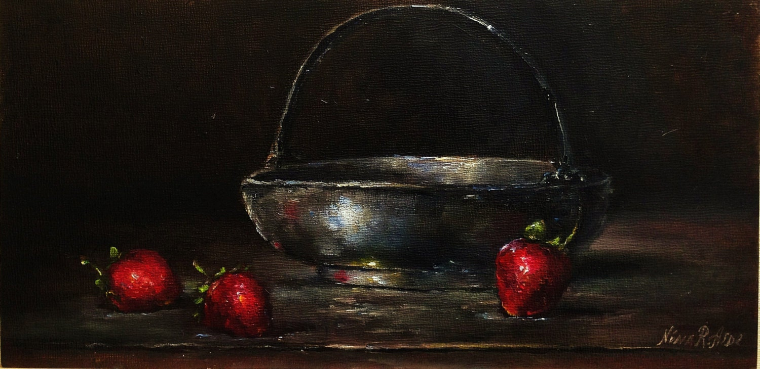 Original Oil Painting Silver Vase and Strawberries by Nina R.Aide 6x12 Fine Art. See Pictures - RomaGalleries