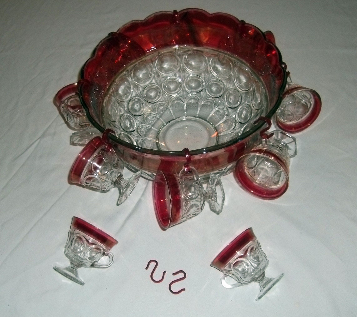 Ruby Red Punch Bowl Set Indiana Glass By Hometowngeneralstore