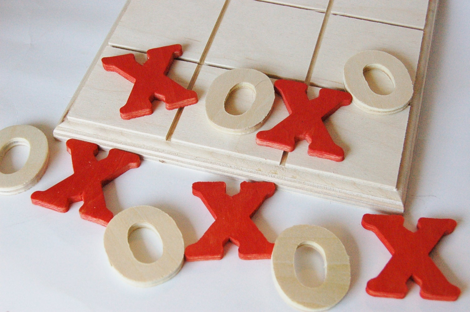 Wooden -LOVE- Valentine Day Edition -Tic Tac Toe Wood Game - applenamos