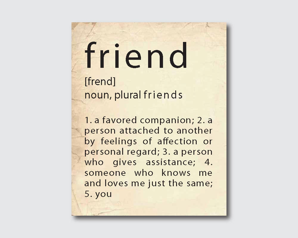 Typography Art Poster Friend Definition By