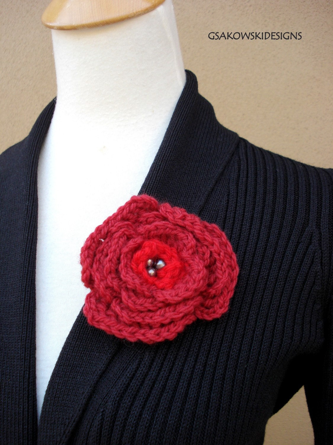 English Rose Brooch-Red