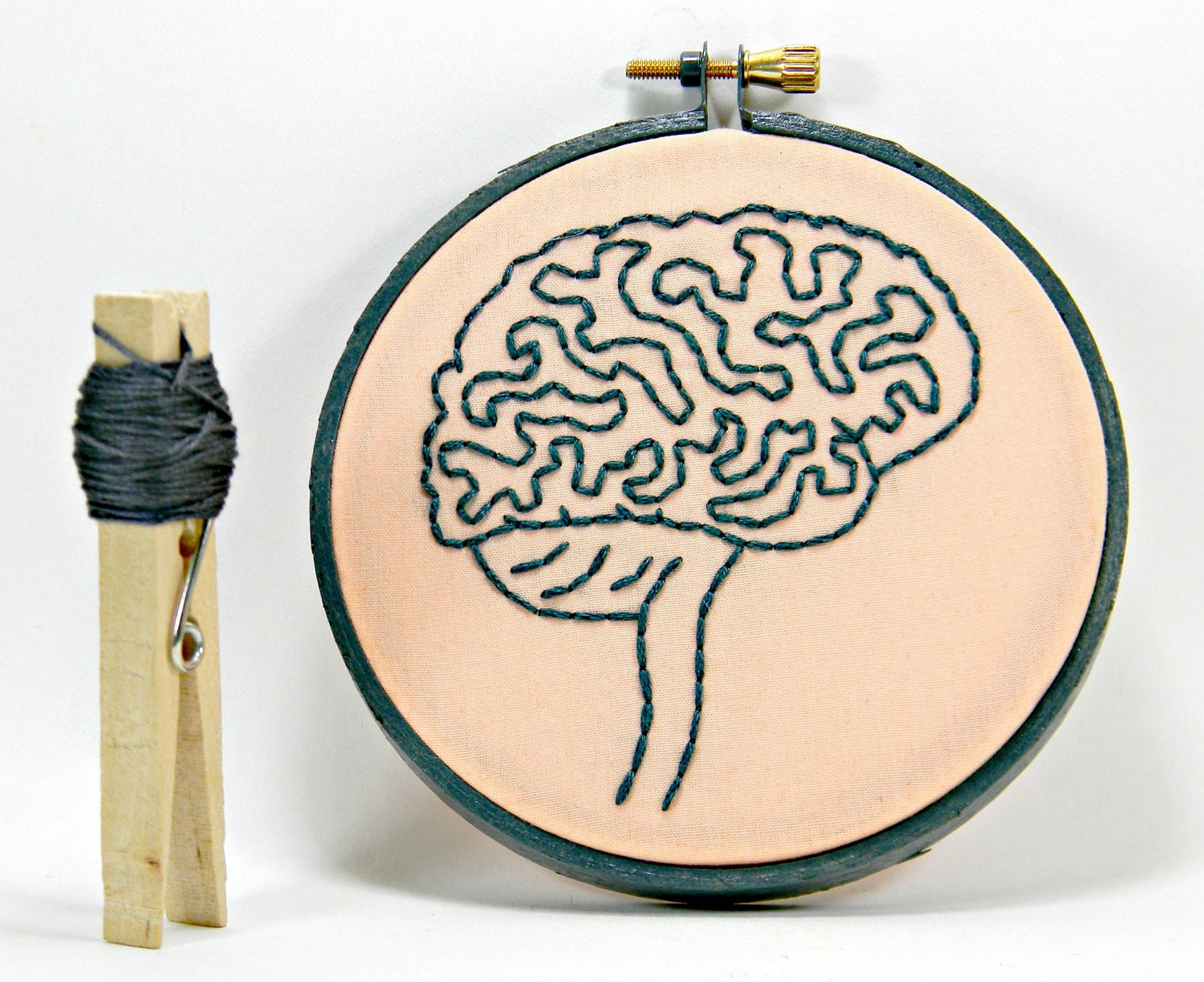 Grey and Pink Brain Anatomy Mini Hoop Art. Hand Embroidered.