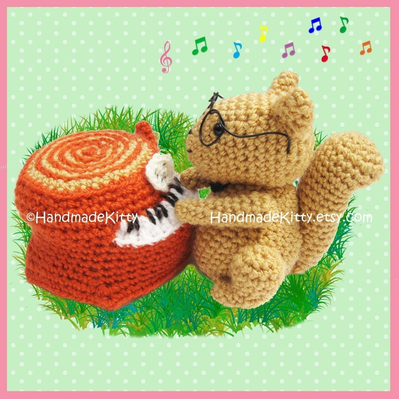 Squirrel playing a Piano Trunk Amigurumi PDF Crochet Pattern by HandmadeKitty
