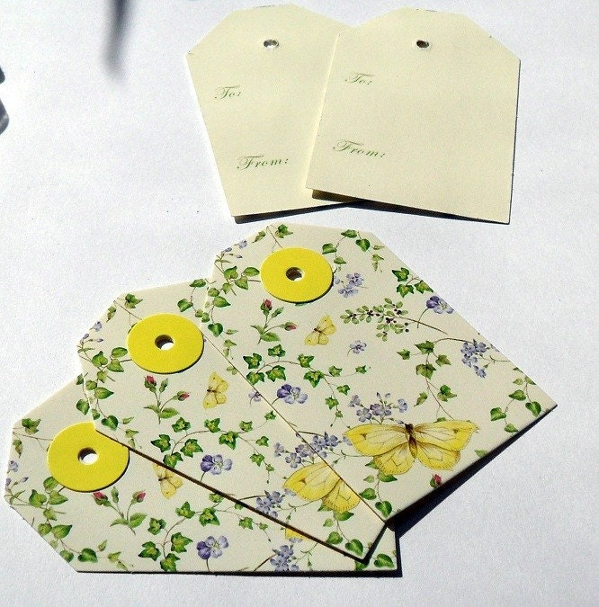 Yellow Butterfly Gift Tags, Set of 5