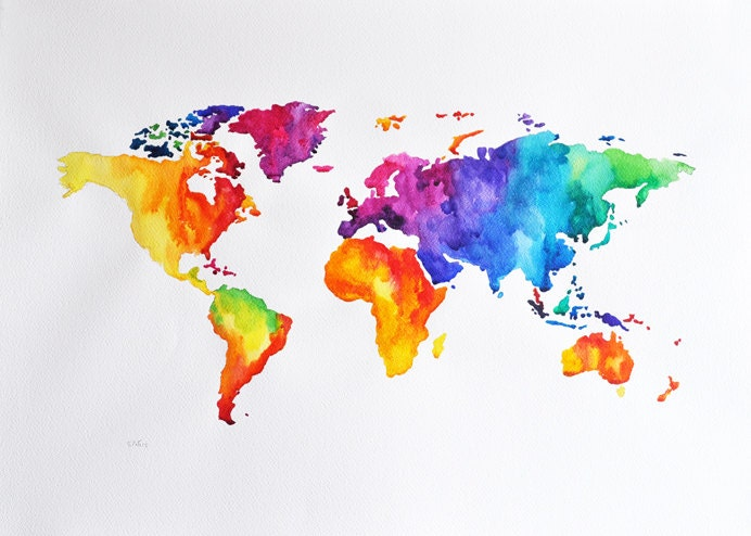ORIGINAL Abstract world map watercolor painting by ArtCornerShop