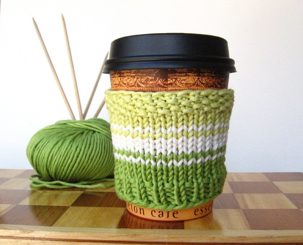 Lova Lotta Latte SOY edition Spring Green Hand Knit Cup Cozy Eco friendly Organic Fair Trade Cotton