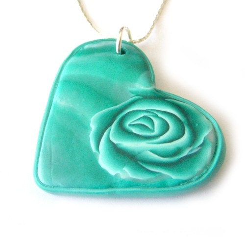 Polymer Clay Heart Keychain or Bag Decoration in Shades of Teal