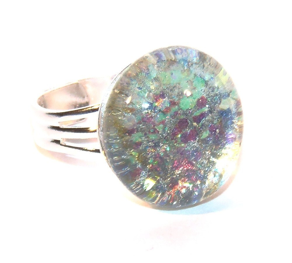 Opal Glitter Nail Polish: Iridescent Silver Opal Ring Silver Ring Marble By