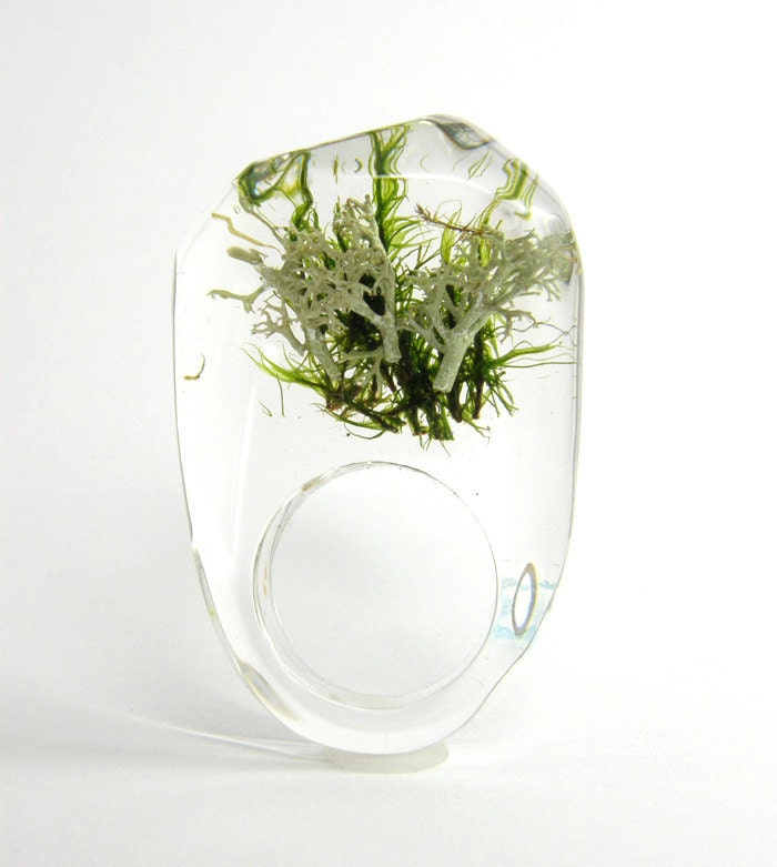 Clear resin ring with green and silver moss W1/ reserved