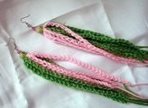 Clearance SALE Pink and Green Crochet Dangles
