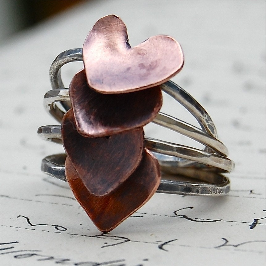 Bridesmaids or Sisters - Set of 4 Sterling and Copper Heart Stacking Rings - Your Sizes
