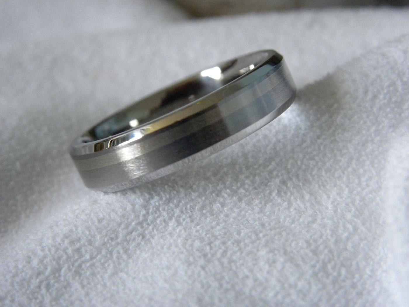 Titanium White Gold Offset Inlay Ring or Wedding Band