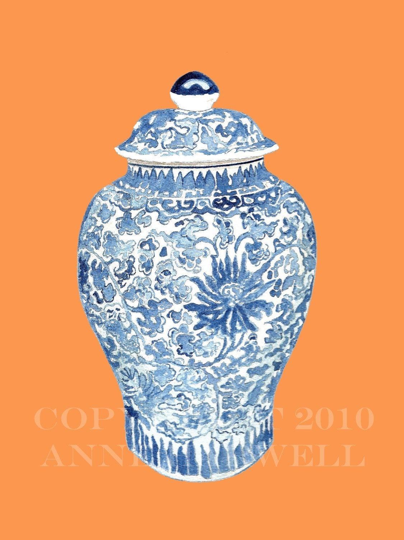BLUE AND WHITE GINGER JAR ON TANGERINE