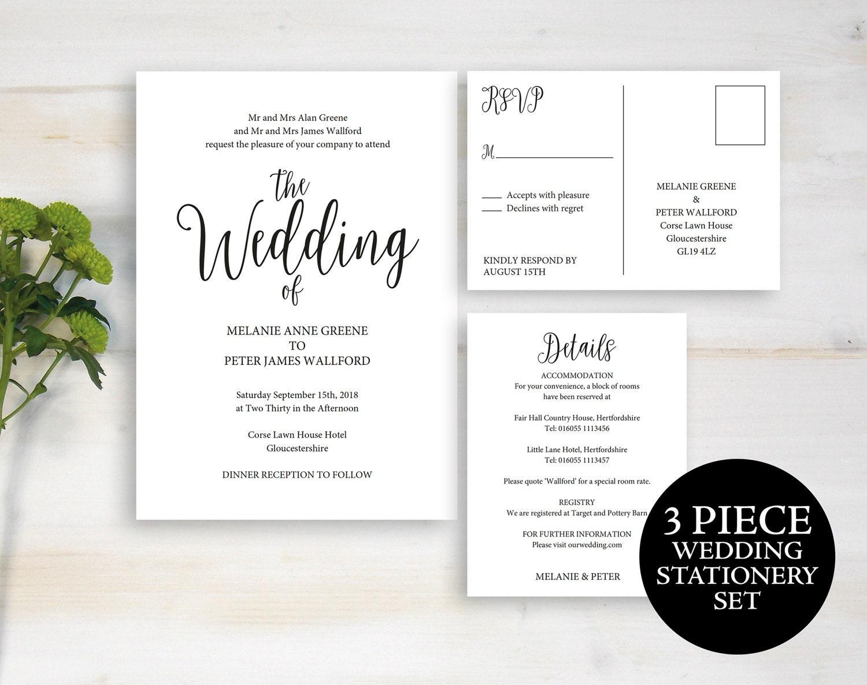 Wedding Invitation Invitation Template Printable Wedding Invite Template Wedding Invitation Set Wedding Invite Instant Download MM021