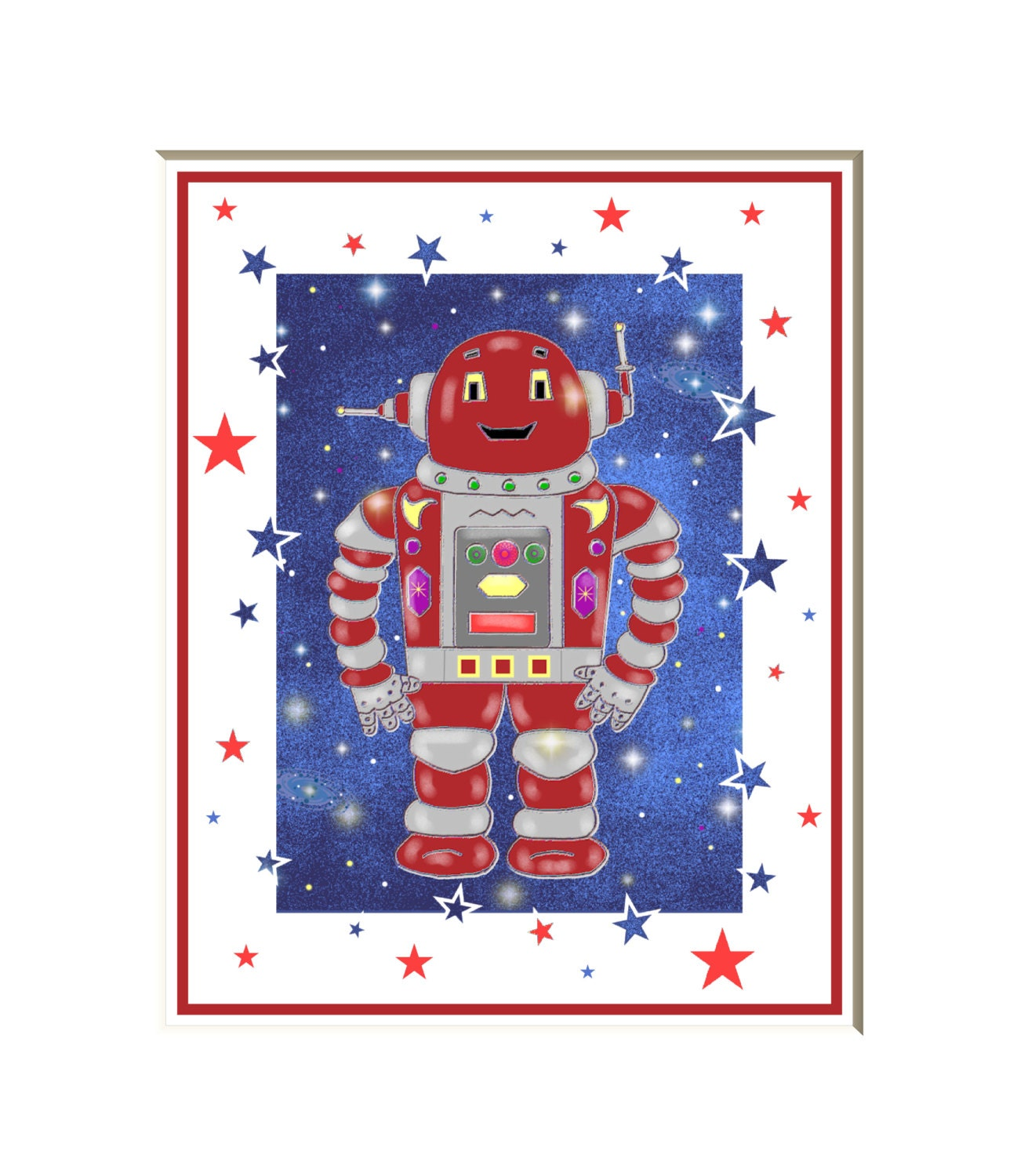 Robot art robot room decor outer space art by for Robot baby room decor