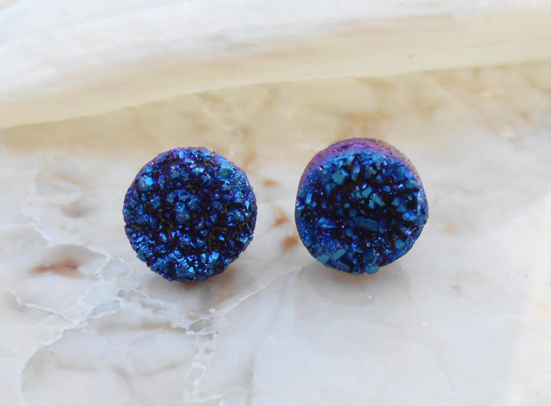 Raw Cobalt Blue Tiny/ Petite Agate Titanium Druzy Round Shaped Steel Earring Titanium Posts/ Studs - IsamarML