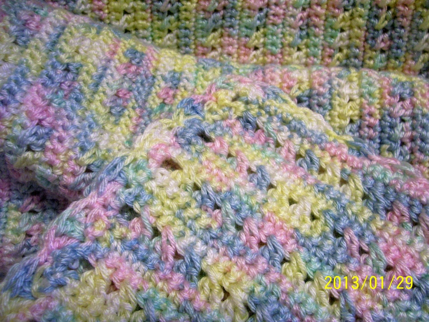 Crochet Afghan Patterns With Variegated Yarn : baby afghan hand crochet 36 42 variegated by mummeeinna