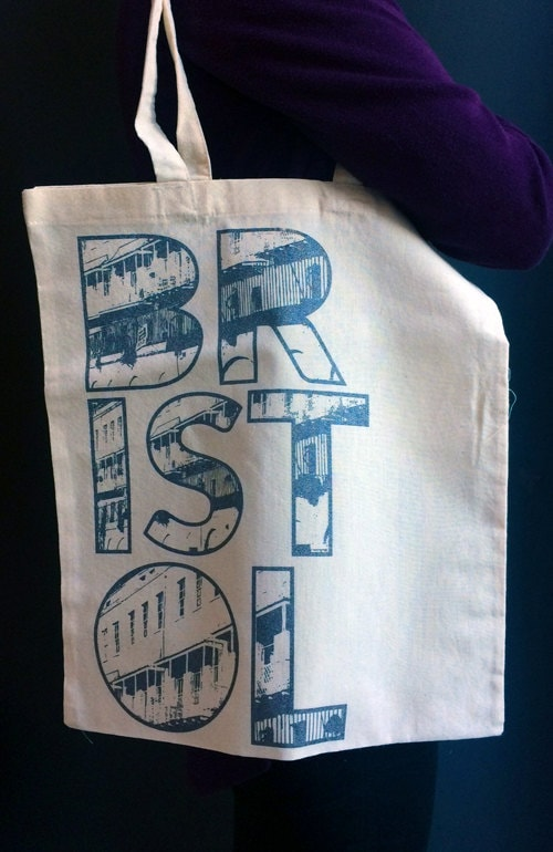 Hand Printed Bag  Screen Printed Bag  Bristol  Bristol Gift  Printed Laptop Bag  Glitter Bag