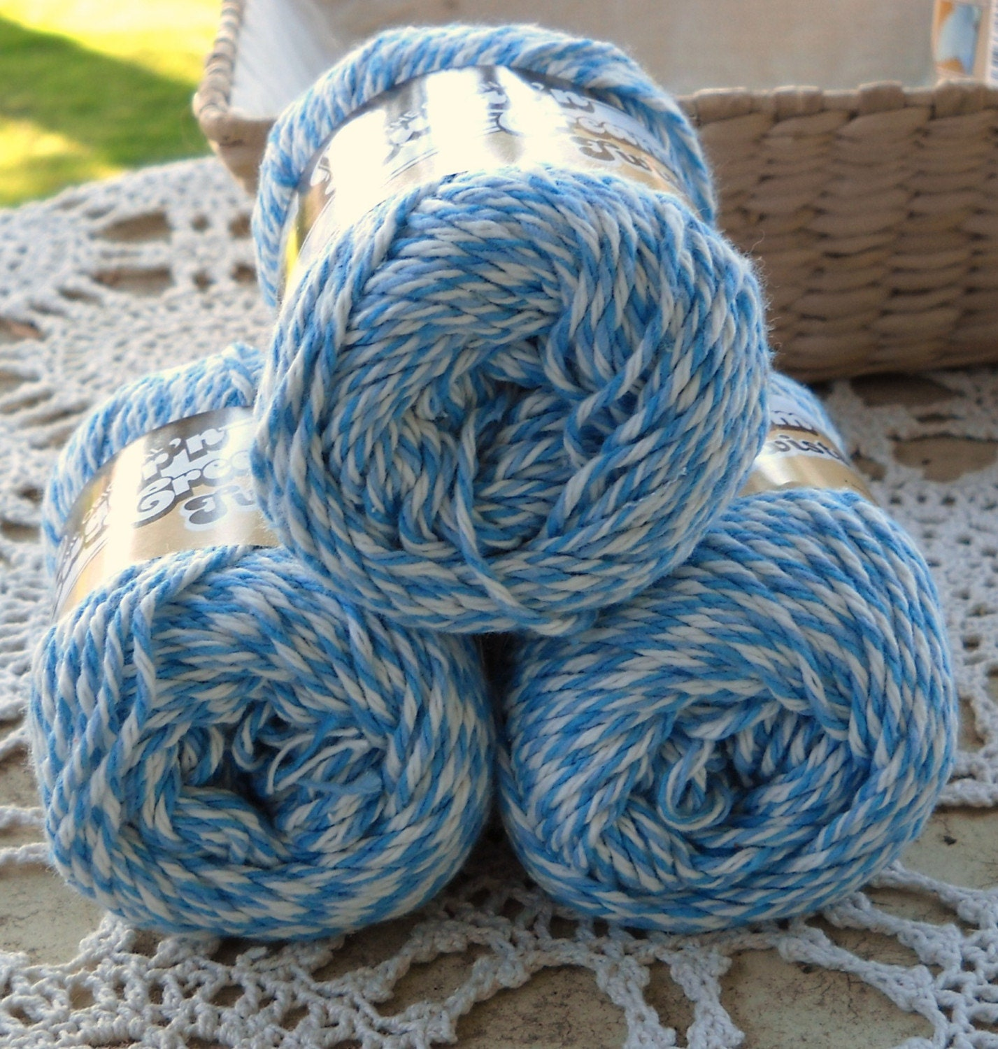 Lily Sugar N Cream Twist Yarn In Blues By Moonlightsally