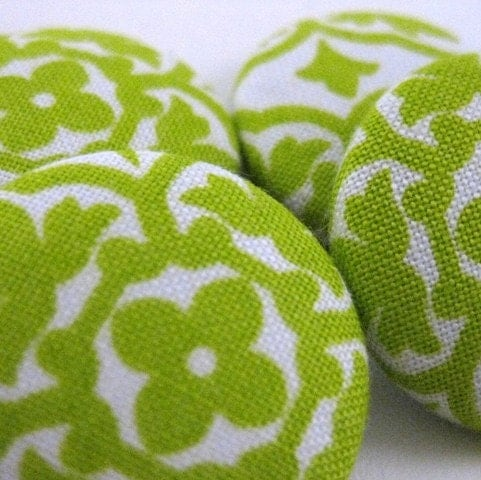 Fabric Refrigerator Magnets Lime Green Mosaic Set of 4