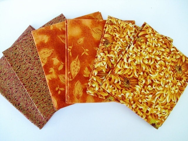 Yellow, Orange, Red, Gold, Fall Colors fat quarters, Floral Print, Leaf Print, Quilting Fabric, - OurPlaceToNest