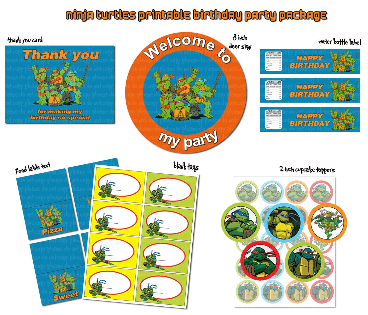 This is a photo of Epic Ninja Turtle Party Printables