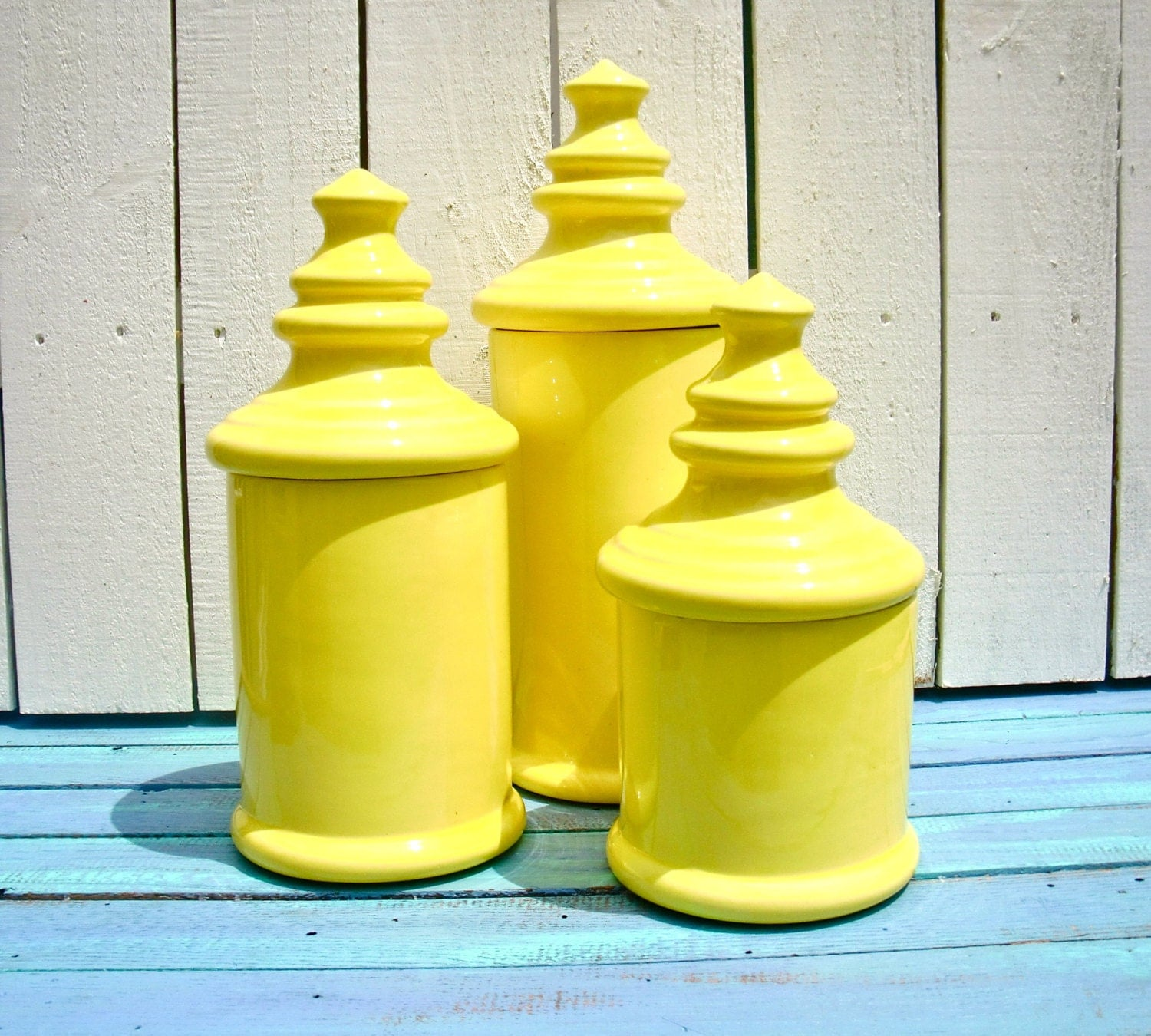 Vintage Sunny Yellow Ceramic Canister Set By MellowMermaid