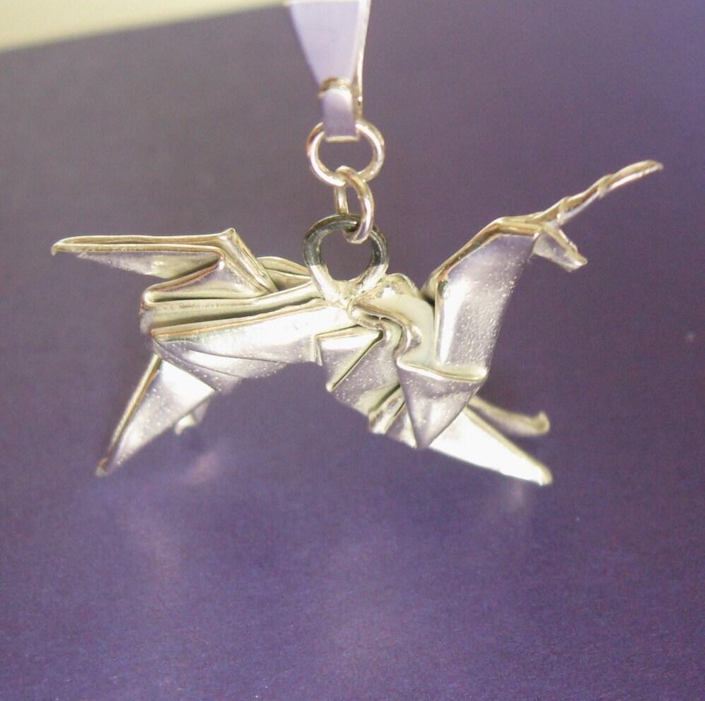 Silver Origami Unicorn Pendant - Blade Runner