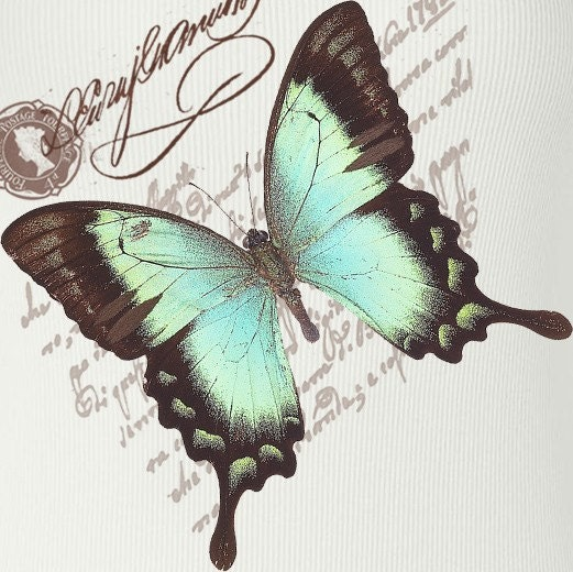 Aqua Blue Butterfly Tank Top