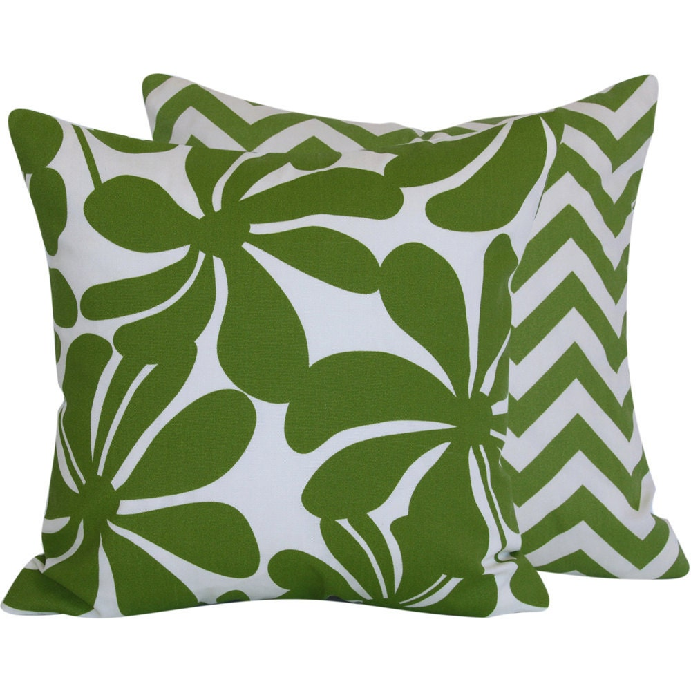 Outdoor Decorative Throw Pillow 18x18 in, 45cm Square, Flowers with Chevron, Green and White, Lime Twirlies with ZigZags