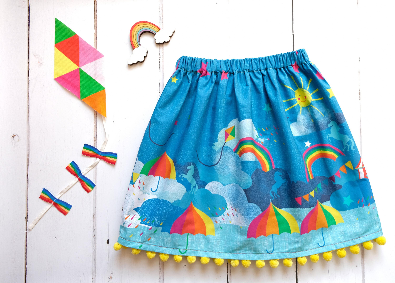 Festival rainbow unicorn print pom pom skirt