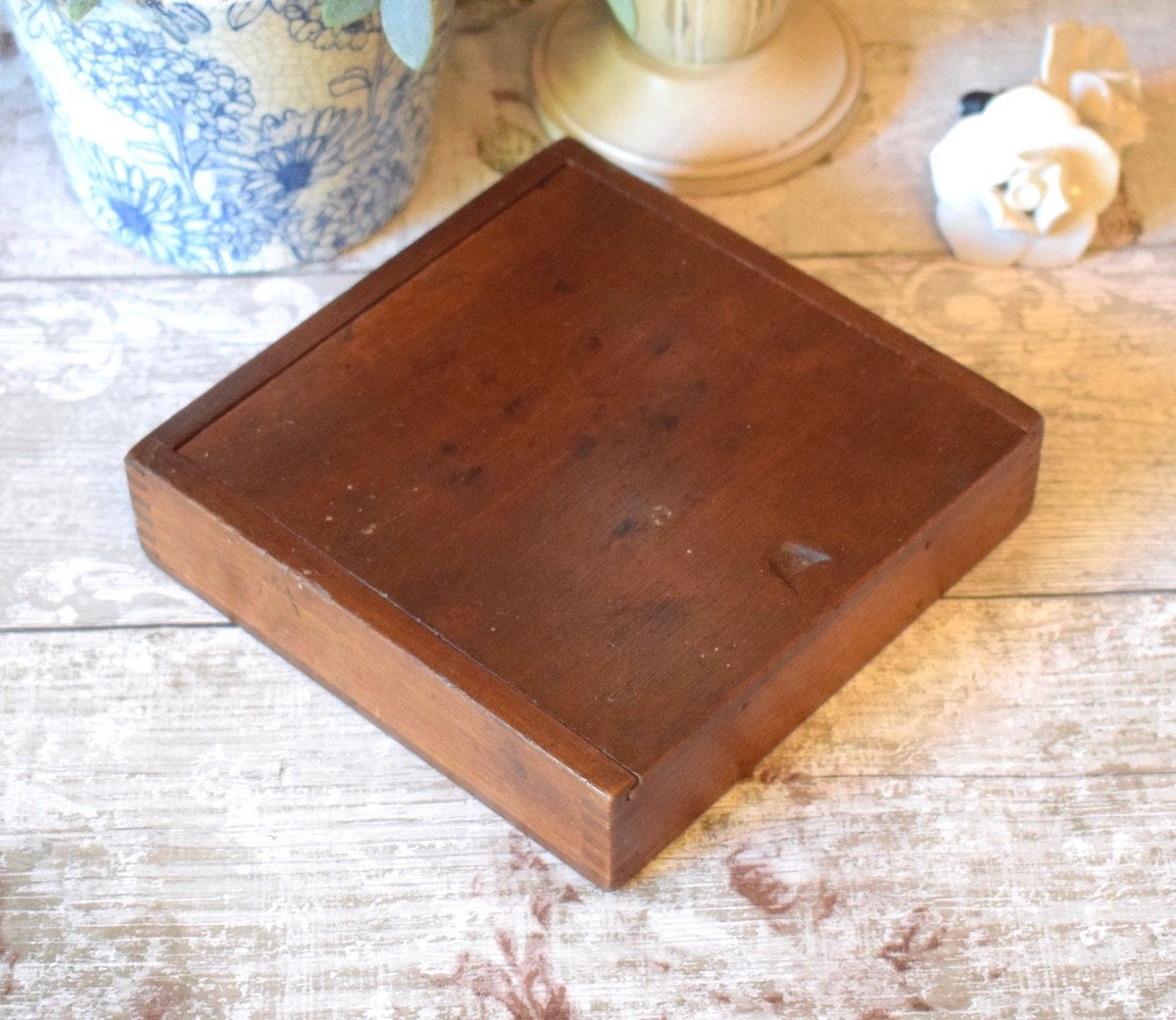 Vintage wooden box games box with sliding lid