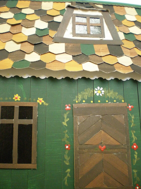 Зеленый Эльзас Миниатюрные Коттедж Дом