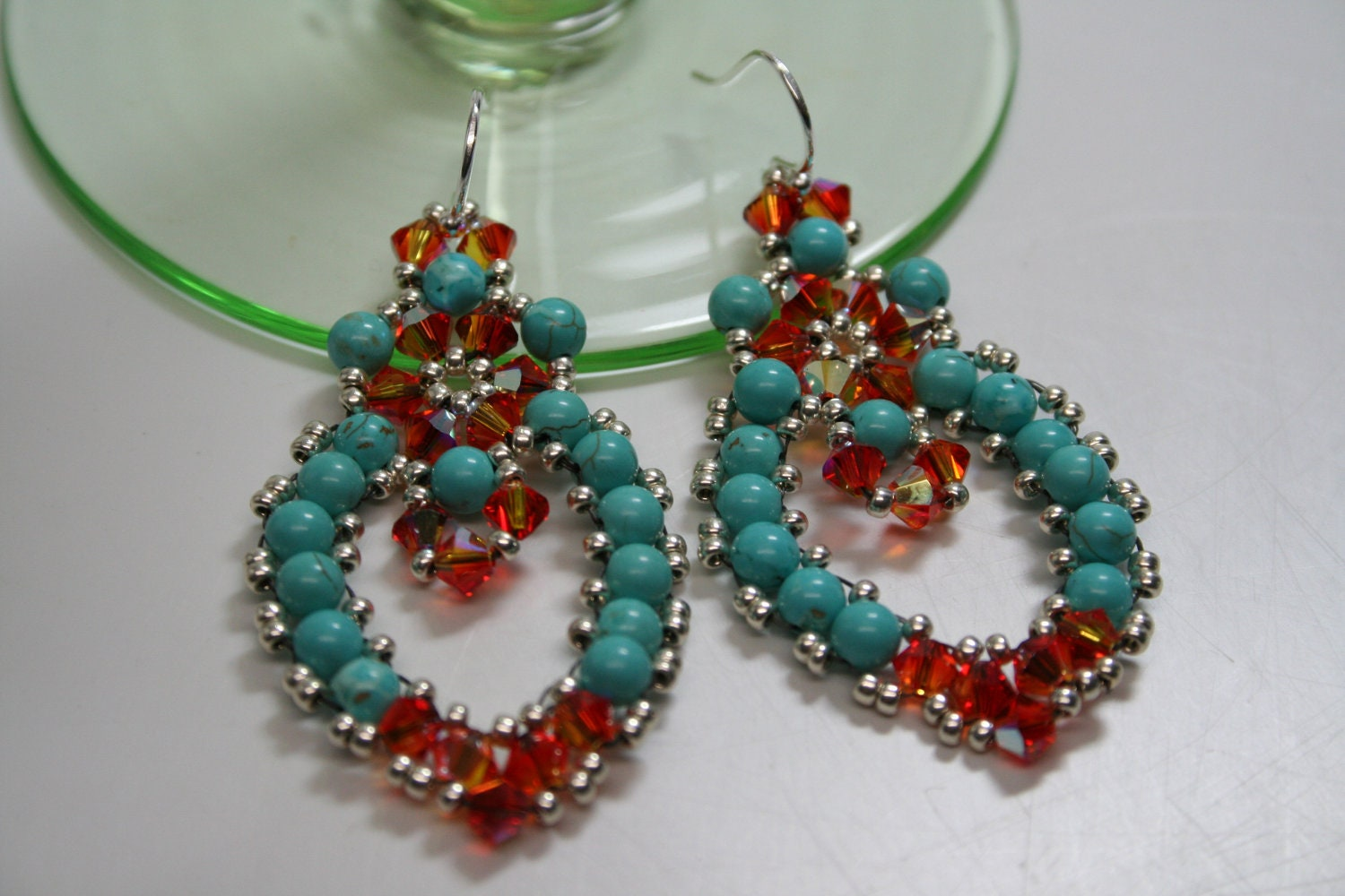 Mexican Embroidery Lace Chandelier Earrings