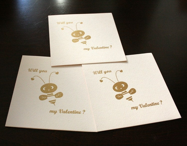 Will You Bee My Valentine - Gocco Screen Printed