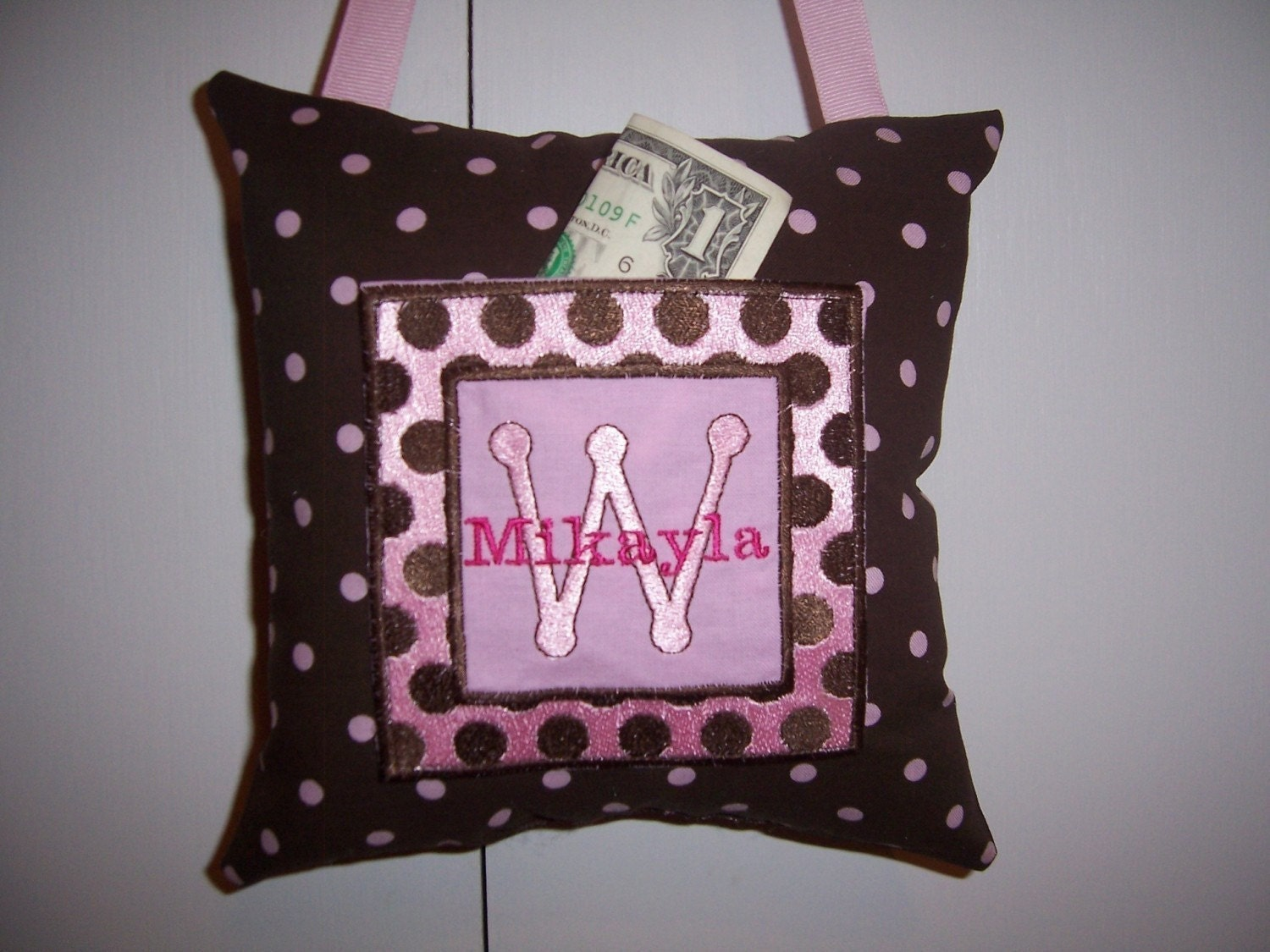 Brown/Pink Polka Dot Tooth Fairy Pillow  - FREE SHIPPING