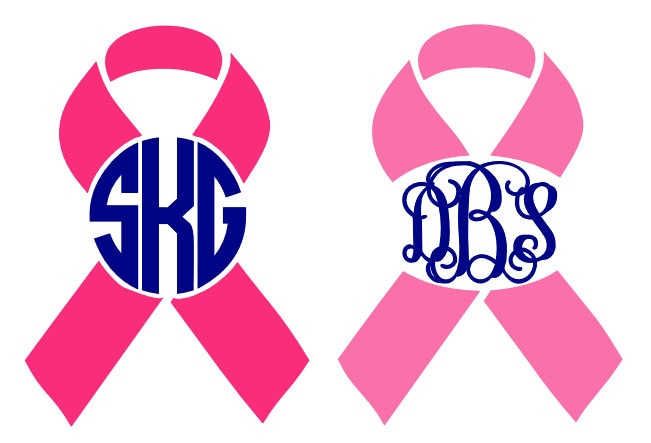 Breast cancer awareness monogram decal by bluetimestwo on etsy